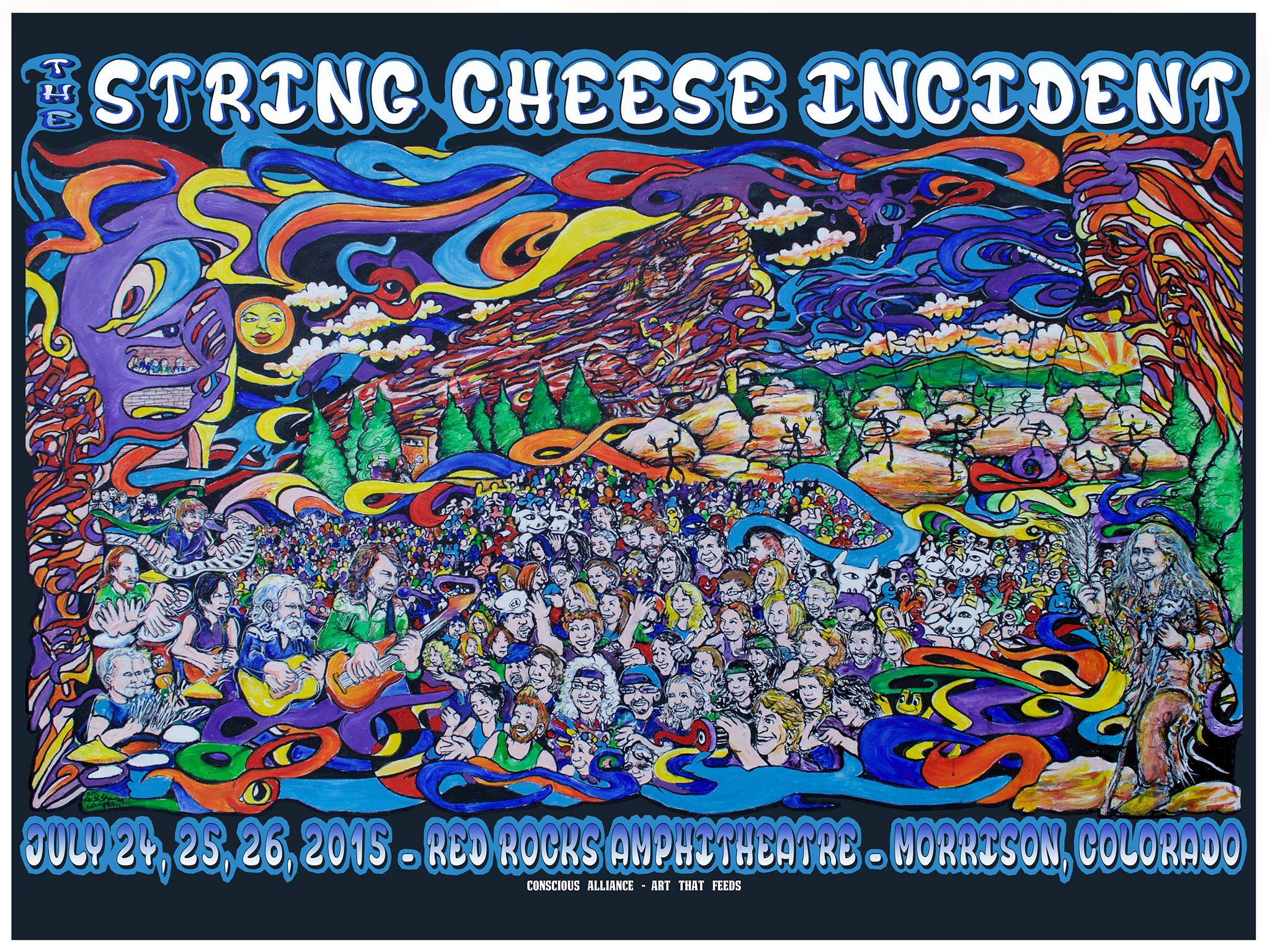 2015 Red Rocks Conscious Alliance Art That Feeds Poster by Scramble Campbell